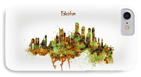 Boston Watercolor Skyline IPhone Case by Marian Voicu