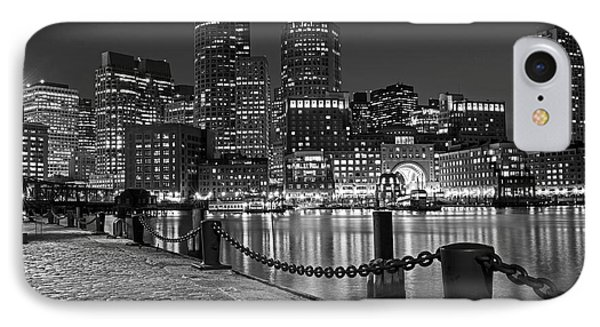 Boston Waterfront Boston Skyline Black And White IPhone Case by Toby McGuire