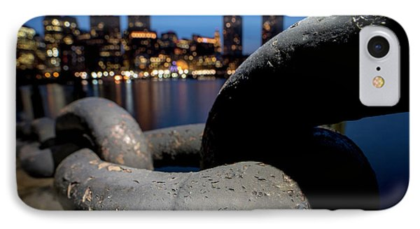 Boston Waterfront Chain Closeup Detail Boston Ma IPhone Case by Toby McGuire