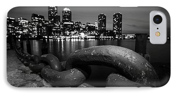 Boston Waterfront Chain Detail Boston Ma Black And White IPhone Case by Toby McGuire