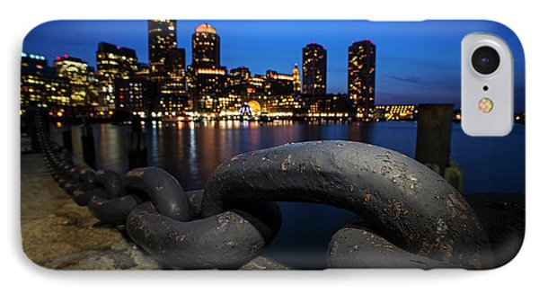 Boston Waterfront Chain Detail Boston Ma IPhone Case by Toby McGuire