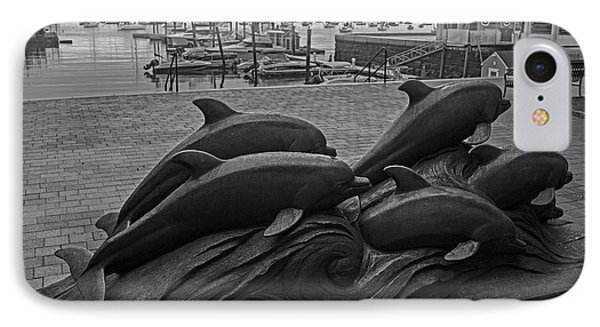 Boston Waterfront Dolphin Statues Boston Ma Harbor Black And White IPhone Case by Toby McGuire