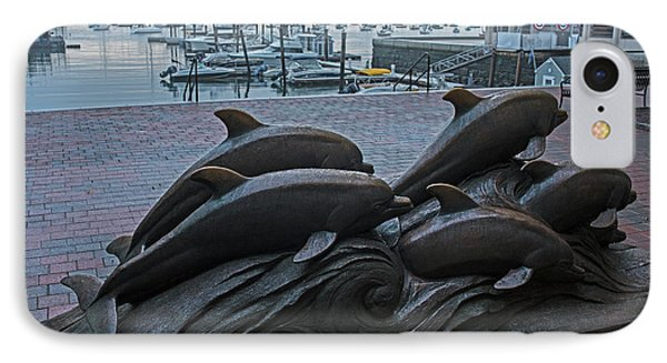 Boston Waterfront Dolphin Statues Boston Ma Harbor IPhone Case by Toby McGuire