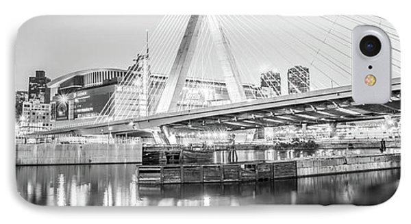 Boston Zakim Bridge Black And White Panorama Photo IPhone Case by Paul Velgos