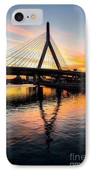 Boston Zakim Bunker Hill Bridge At Sunset IPhone Case by Paul Velgos