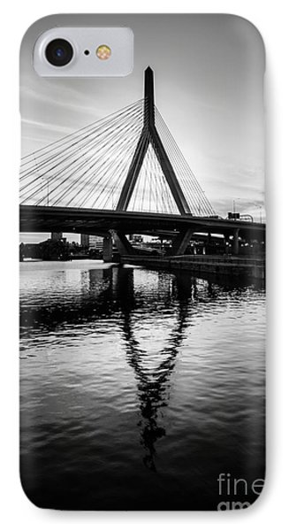 Boston Zakim Bunker Hill Bridge In Black And White IPhone Case by Paul Velgos