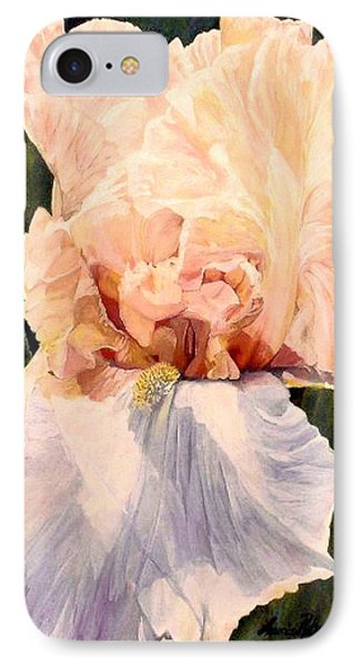 IPhone Case featuring the painting  Botanical Peach Iris by Laurie Rohner