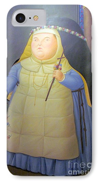 Botero Nunn In Blue IPhone Case by Ted Pollard