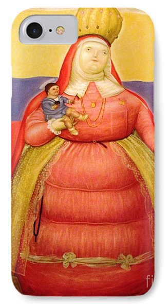 Botero Woman And Child IPhone Case by Ted Pollard
