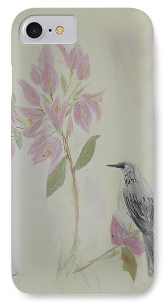 Bougainvillea And Mockingbird IPhone Case by Donna Walsh