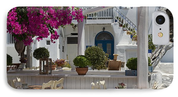 Bougainvillea Growing Around A Taverna IPhone Case by Ellen Rooney
