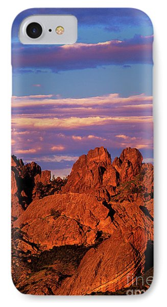Boulders Sunset Light Pinnacles National Park Californ IPhone Case by Dave Welling