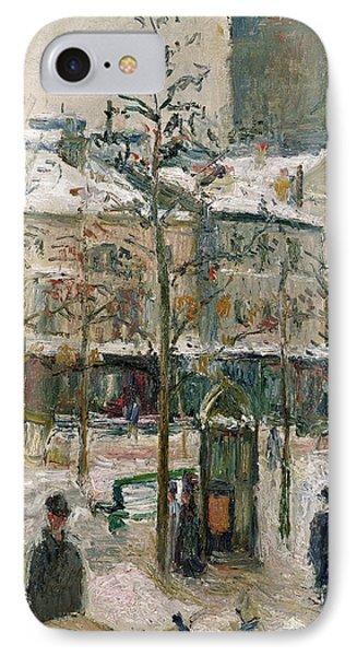 Boulevard De Rocheouart In Snow Phone Case by Camille Pissarro