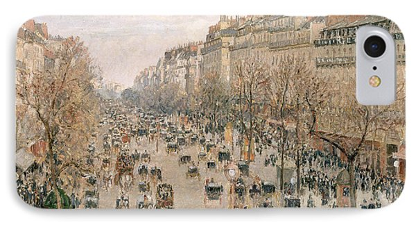Boulevard Montmartre Afternoon Sun IPhone Case by Camille Pissarro