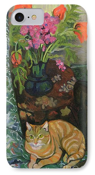 Bouquet And A Cat IPhone Case by Marie Clementine Valadon