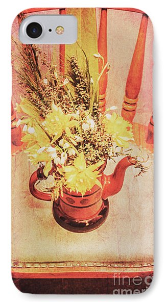 Bouquet Of Dried Flowers In Red Pot IPhone Case