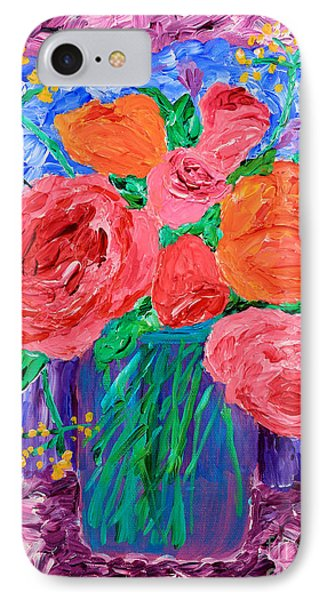 Bouquet Of English Roses In Mason Jar Painting IPhone Case