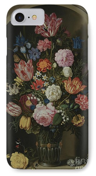 Bouquet Of Flowers In A Stone Niche IPhone Case by Ambrosius the Elder Bosschaert