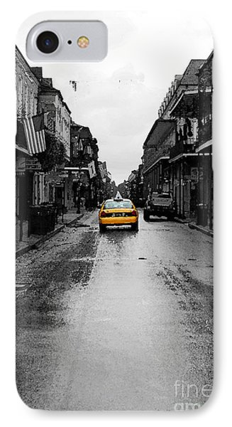 Bourbon Street Taxi French Quarter New Orleans Color Splash Black And White Watercolor Digital Art IPhone Case by Shawn O'Brien