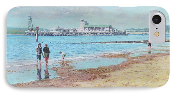 IPhone Case featuring the painting Bournemouth Pier Late Summer Morning by Martin Davey