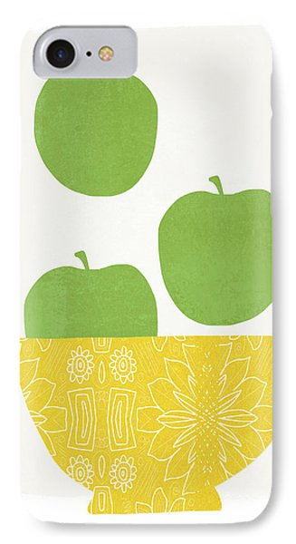 Bowl Of Green Apples- Art By Linda Woods IPhone Case by Linda Woods