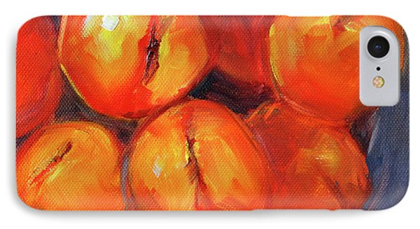 IPhone 7 Case featuring the painting Bowl Of Peaches Still Life by Nancy Merkle