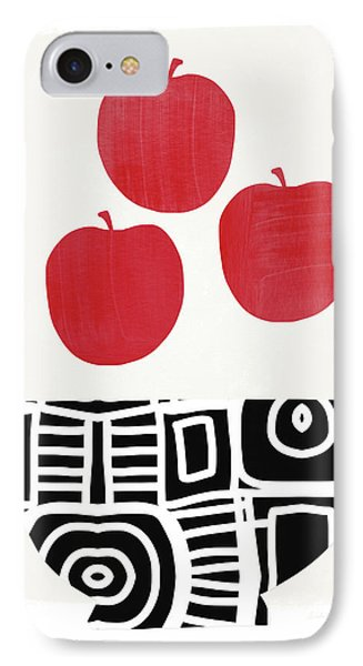 Bowl Of Red Apples- Art By Linda Woods IPhone Case by Linda Woods