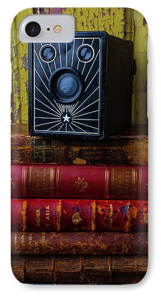 Box Camera And Books IPhone Case by Garry Gay