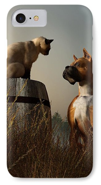 Boxer And Siamese IPhone Case by Daniel Eskridge