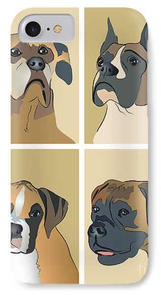 Boxer Dogs 4 Up Phone Case by Robyn Saunders