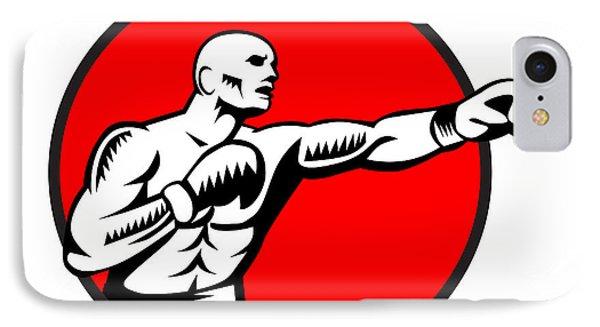 Boxer Jabbing Punching Circle Woodcut IPhone Case by Aloysius Patrimonio
