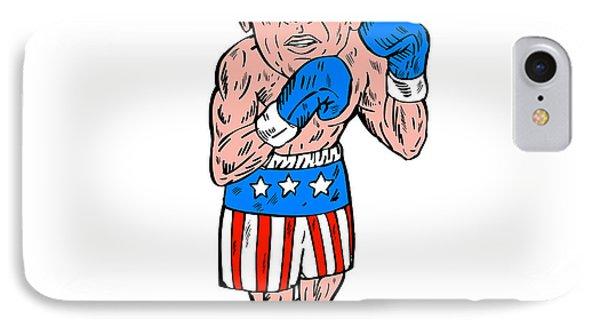Boxer Pose Usa Flag Etching IPhone Case