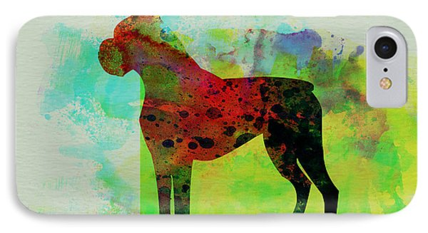 Boxer Watercolor IPhone Case by Naxart Studio