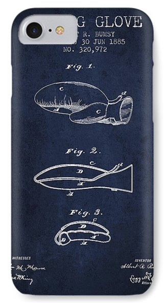 Boxing Glove Patent From 1885 - Navy Blue IPhone Case