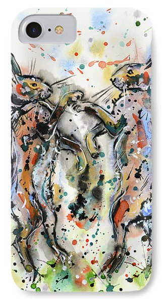 Boxing Hares IPhone Case by Zaira Dzhaubaeva