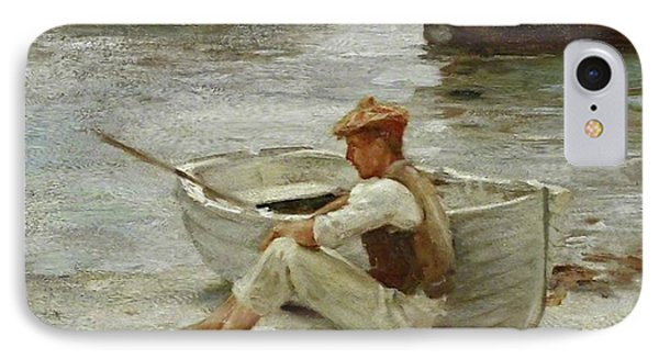 IPhone Case featuring the painting Boy And Boat  by Henry Scott Tuke