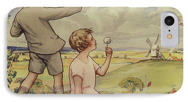Boy And Girl Flying A Kite IPhone Case by English School