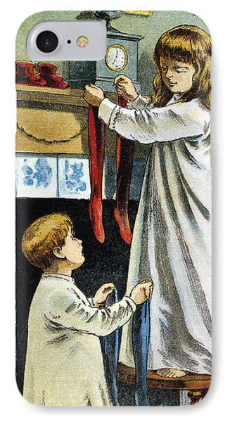 Boy And Girl Place Stockings On Their Fireplace Mantle On Christmas Eve IPhone Case by William Roger Snow