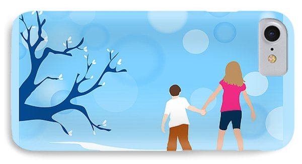 Boy And Girl Walking In Fantasy Blue Nature Scene IPhone Case