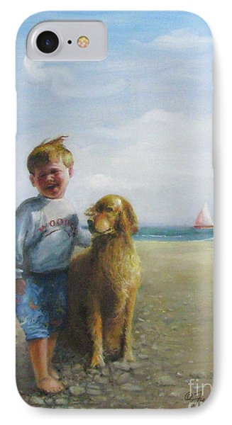 IPhone Case featuring the painting Boy And His Dog At The Beach by Oz Freedgood
