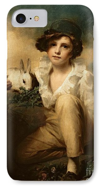 Boy And Rabbit IPhone 7 Case by Sir Henry Raeburn
