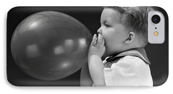 Boy Blowing Up Balloon, C.1940s IPhone Case