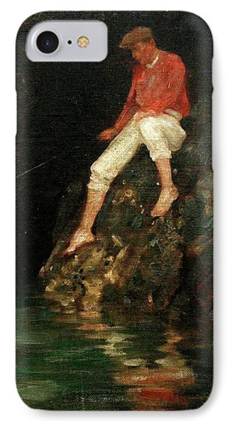 IPhone Case featuring the painting Boy Fishing On Rocks  by Henry Scott Tuke