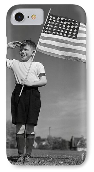 Boy Holding American Flag & Saluting IPhone Case