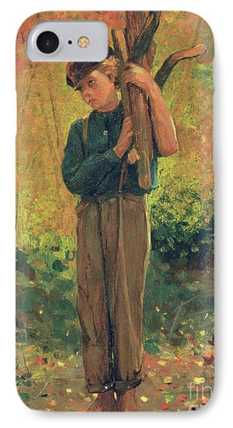 Boy Holding Logs Phone Case by Winslow Homer