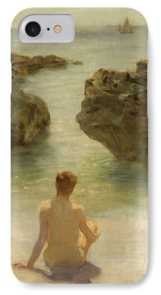 IPhone Case featuring the painting Boy On A Beach, 1901 by Henry Scott Tuke