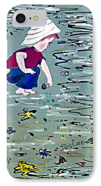 IPhone Case featuring the painting Boy On Beach by Desline Vitto