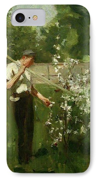 IPhone Case featuring the painting Boy With A Grass Rake by Henry Scott Tuke