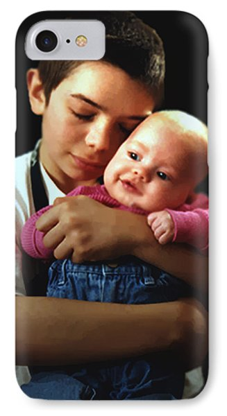 Boy With Bald-headed Baby IPhone Case by RC deWinter