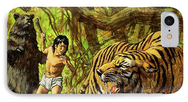 Boy With Bear And Tiger  IPhone Case by English School
